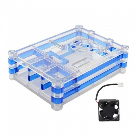 5-Layer Blue ABS Case Enclosure with Cooling Fan Kit for Raspberry Pi 3 Model B, 2B, B+