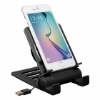 Universal desktop mobile phone play game tablet holder, usb radiator cooling down adjustable bracket stand for iphone - black