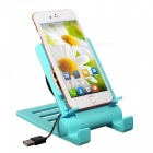 Universal desktop mobile phone play game tablet holder, usb radiator cooling down adjustable bracket stand for iphone - sky blue