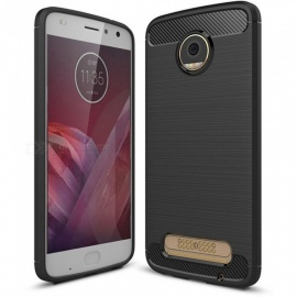 Naxtop Wire Drawing Carbon Fiber Textured TPU Brushed Finish Soft Phone Back Cover Case For Moto Z2 Force