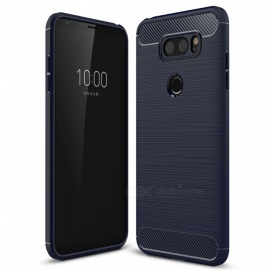 Naxtop Wire Drawing Carbon Fiber Textured TPU Brushed Finish Soft Phone Back Cover Case For LG V30