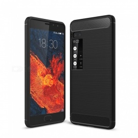 Naxtop Wire Drawing Carbon Fiber Textured TPU Brushed Finish Soft Phone Back Cover Case For Meizu Pro 7
