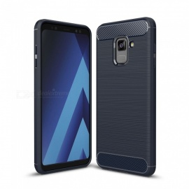 Naxtop Wire Drawing Carbon Fiber Textured TPU Brushed Finish Soft Phone Back Cover Case For Samsung Galaxy A8+ (2018)