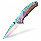 Ctsmart f88 outdoor stylish wild survival sharp knife with clip - multicolor
