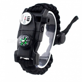 CTSmart EM1048 Multifunctional Outdoor Camping Paracord Adjustable Survival Bracelet - Black