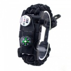 CTSmart EM1048 Multifunctional Outdoor Camping Paracord Adjustable Survival Bracelet - Black + White