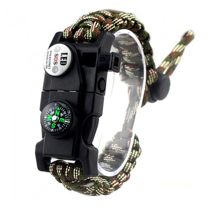 CTSmart EM1048 Multifunctional Outdoor Camping Paracord Adjustable Survival Bracelet - Army Green Camouflage