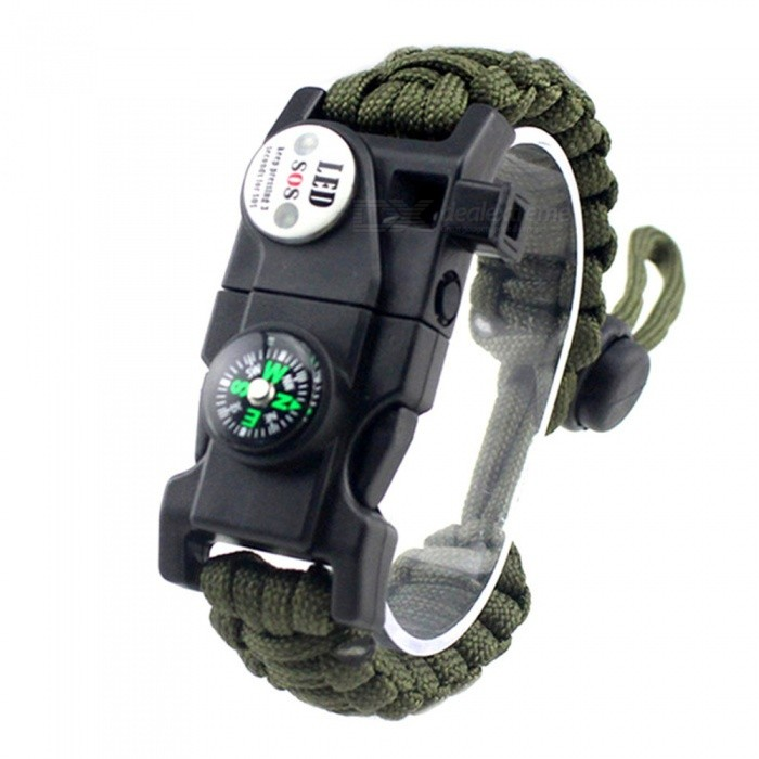 CTSmart EM1048 Multifunctional Outdoor Camping Paracord Adjustable Survival Bracelet - Army GreenFirst Aid<br>ColorArmy GreenModelEM1048Quantity1 pieceMaterialPlastic / resinBest UseBackpacking,CampingPacking List1 x Bracelet<br>