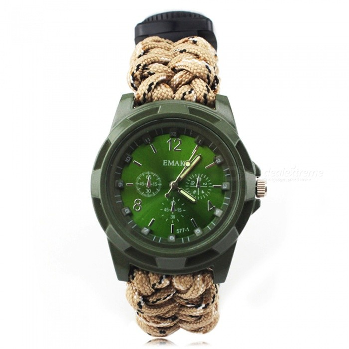 CTSmart 3665338 Multifunction Outdoor EDC Watch with Survival Paracord Bracelet, Flint, Compass, Thermometer - Desert CamouflageFirst Aid<br>ColorDesert CamouflageModel3665338Quantity1 pieceMaterialNylonBest UseBackpacking,CampingPacking List1 x Bracelet<br>