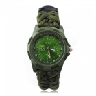 Ctsmart 3665338 multifunction outdoor edc watch with survival paracord bracelet, flint, compass, thermometer - army green