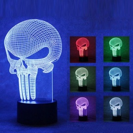 3D Colorful Night Light Three-Dimensional Punish Home USB LED Night Light (Round Bottom Touch)
