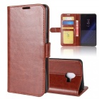 Protective pu leather case for samsung c10 - brown