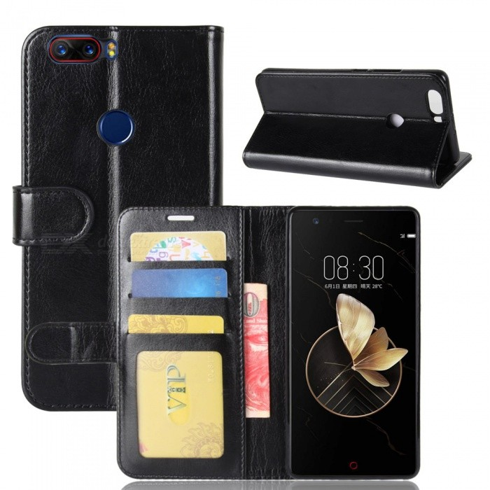 Protective PU Leather Case forZTE Nubia Z17 - BlackLeather Cases<br>Form  ColorBlackModelN/AMaterialPUQuantity1 pieceShade Of ColorBlackCompatible ModelsZTE Nubia Z17FeaturesAnti-slip,Dust-proof,Shock-proof,Abrasion resistance,Holder functionPacking List1 x Case<br>
