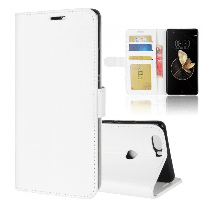 Protective PU Leather Case for ZTE Nubia Z17 - WhiteLeather Cases<br>Form  ColorWhiteModelN/AMaterialPUQuantity1 pieceShade Of ColorWhiteCompatible ModelsZTE Nubia Z17FeaturesAnti-slip,Dust-proof,Shock-proof,Abrasion resistance,Holder functionPacking List1 x Case<br>