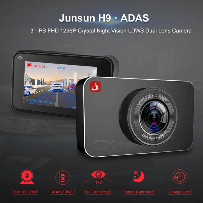 Junsun H9 Plus Super Night Vision Car DVR Camera ADAS/LDWS FHD 1296P 3 IPS Dash Cam Video Recorder Registrar Parking MonitorCar DVRs<br>ColorBlackModelH9 PlusQuantity1 setMaterial-Form  ColorBlackChipsetOthers,AIT8328POther FeaturesOthers,Motion Detection,SD/MMC Card,Wide Dynamic Range,Time&amp;Date Display,Automatic White Balance,Cycle Recording,G-sensor,Cyclic Recording,Night VisionWide Angle170°-189°Camera Lens1Image SensorOthers,OV4689Image Sensor SizeOthers,3.0 inches IPS screenCamera PixelOthers,4.0MPExternal Camera PixelNoWide AngleOthers,170Optical Zoom6XScreen TypeOthers,IPS screenScreen Size3.0 inchesISOOthersExposure Compensation-2;-1.7;-1.3;-1;-0.7;-0.3;0;+0.3;+0.7;+1;+1.3;+1.7;+2.0White Balance ModeAutoVideo FormatMOVDecode FormatH.264Video ResolutionOthers,1296P(2340x1296)Video Frame Rate30ImagesJPGStill Image ResolutionOthers,200WMicrophoneYesMotion DetectionYesAuto-Power OnYesLED QtyNoneIR Night VisionYesG-sensorYesLoop RecordOthersDelay ShutdownYesTime StampYes (ON Or OFF)Built-in Memory / RAMOthers,8MMax. Capacity32GBStorage ExpansionTFAV InterfaceOthers,Micro SD/TFData interfaceMicro USBWorking Voltage   5 VBattery Capacity300 mAhMenu LanguageOthers,Dutch,Spanish,Italian,Vietnamese,Czech,French,Japanese,Russia,English,Polish,Portuguese,Korean,Ukrainian,ThaiOther FeaturesBrand Name:Junsun<br>Item Type:Car DVR<br>Pixels:200Mega<br>OSDLanguage:Dutch,Spanish,Italian,Vietnamese,Czech,French,Japanese,Russia,English,Polish,Portuguese,Korean,Ukrainian,Thai<br>Imaging Sensor:OV4689<br>GPS logger:None<br>Video Code:H.264<br>Battery:Built-in<br>Special Features:Motion Detection,SD/MMC Card,Wide Dynamic Range,Time&amp;Date Display,Automatic White Balance,Cycle Recording,G-sensor,Cyclic Recording,Night Vision<br>View angle:170°<br>Assembly Mode:Portable Recorder<br>Number Of Lenses:1<br>Memory Card Required Reding Speed:Class 10<br>Display Size:3-5<br>Battery Life:Connect car charger use<br>Camera Resolution:1920x1080<br>Max External Memory:32G<br>Frames Per S