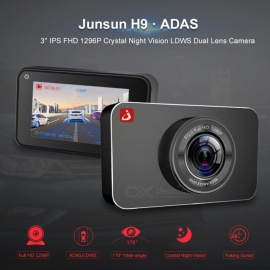 "Junsun H9 Plus Super Night Vision Car DVR Camera ADAS/LDWS FHD 1296P 3"" IPS Dash Cam Video Recorder Registrar Parking Monitor"