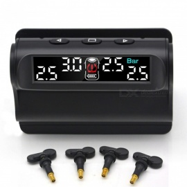 junsun auto TPMS bandenspanningscontrolesysteem solar charging VA HD digitaal LCD-display auto-alarmsysteem draadloos met sensor