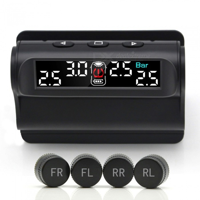 Junsun Car TPMS Tire Pressure Monitoring System Solar Charging VA High-Definition External Digital LCD Automatic Alarm SystemCar Alarm Systems<br>ColorBlackModelTM101.WQuantity1 setMaterialABSTransmit Frequency433.92 MHzQuiescent Current3 mATransmit Current3 mASpeaker Power3 WAlarm Volume80 dBWorking Voltage   3 VLoud HailersYesRemote Control Range3 mOther FeaturesBrand Name:Junsun<br>Item Type:Alarm Systems &amp; Security<br>Voltage:5V<br>External Testing Certification:CCC<br>Item Width:60mm<br>Item Length:83mm<br>Special Features:solar charging<br>Item Height:31mm<br>Model Name:TM101<br>Material Type:Composites<br>Item Weight:0.6kg<br>Item:TPMS Tire Pressure Sensor<br>Display:AV HD Screen more clear and easy to read<br>Sensors: External Sensor <br>Frequency:433.92 MHz<br>Battery Life:External Sensor 2 years<br>Pressure Accuracy:+-7KPA<br>Temperature Accuracy:3 Celsius<br>Anti High Temperate and Cold:Support<br>Water-Proof:Support<br>Anti-theft:SupportPacking List1 x TPMS4 x External Sensors4 x Sensor Battery1 x Install Tools1 x User Manual1 x Packing Box<br>