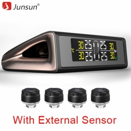 Junsun Solar Power TPMS Tire Pressure Monitor System Wireless Colorful Display Tire Pressure Alarm With  External 4 Sensors