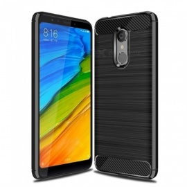 Naxtop Wire Drawing Carbon Fiber Textured TPU Brushed Finish Soft Phone Back Cover Case For Xiaomi Redmi 5 Plus - Black