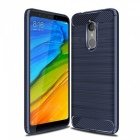 Naxtop Wire Drawing Carbon Fiber Textured TPU Brushed Finish Soft Phone Back Cover Case For Xiaomi Redmi 5 - Blue