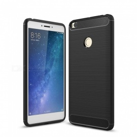 Naxtop Wire Drawing Carbon Fiber Textured TPU Brushed Finish Soft Phone Back Cover Case For Xiaomi Mi Max 2 - Black
