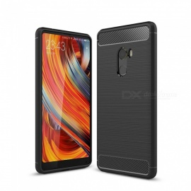 Naxtop Wire Drawing Carbon Fiber Textured TPU Brushed Finish Soft Phone Back Cover Case For Xiaomi Mi Mix 2 - Black