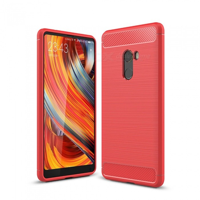 Naxtop Wire Drawing Carbon Fiber Textured TPU Brushed Finish Soft Phone Back Cover Case For Xiaomi Mi Mix 2 - RedTPU Cases<br>ColorRedModelN/AMaterialTPUQuantity1 pieceShade Of ColorRedCompatible ModelsXiaomi Mi Mix 2Packing List1 x Case<br>