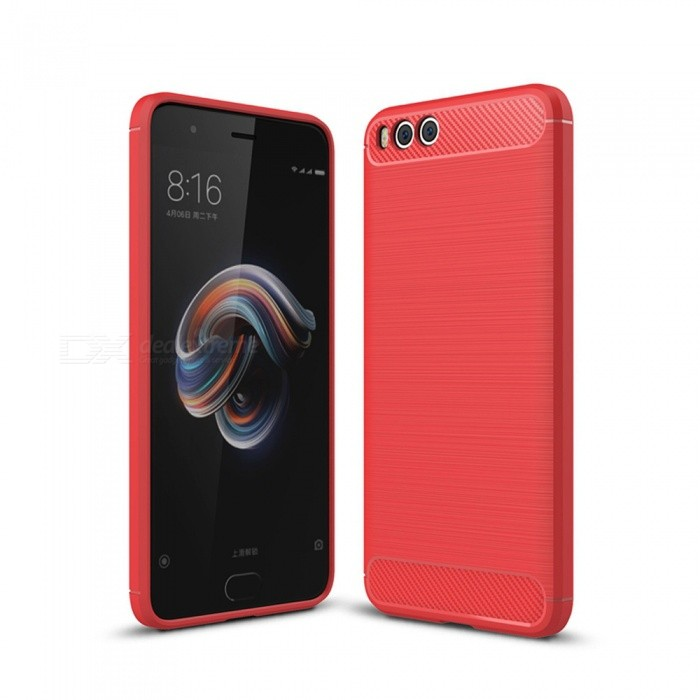 Naxtop Wire Drawing Carbon Fiber Textured TPU Brushed Finish Soft Phone Back Cover Case For Xiaomi Mi Note 3 - RedTPU Cases<br>ColorRedModelN/AMaterialTPUQuantity1 pieceShade Of ColorRedCompatible ModelsXiaomi Mi Note 3Packing List1 x Case<br>