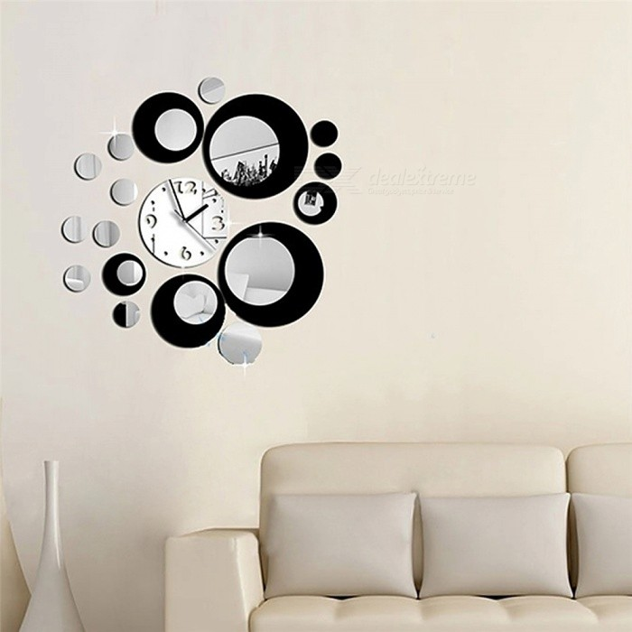 Removable Clock Mirror Style DIY Art Wall Stickers Mural Decal for Home Decor - Black + SilverWall Sticker <br>ColorBlackShade Of ColorBlackMaterialAcrylicQuantity1 setStyleFashionDimension23.5 x 22 x 4.5 cmPacking List1 x Wall Sticker (24 pcs)1 x Install Fittings<br>