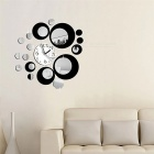 Removable clock mirror style diy art wall stickers mural decal for home decor - black + silver