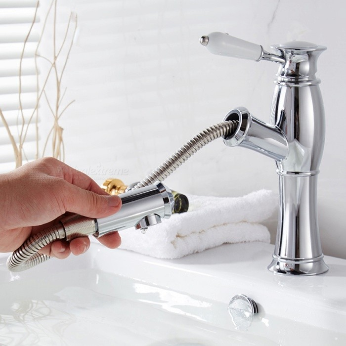 Contemporary Brass Chrome Pull-out/­Pull-down Ceramic Valve Single Handle One-Hole , Bathroom Sink Faucet