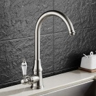 Contemporary brass brushed 360 degree rotatable ceramic valve single handle one-hole kitchen faucet