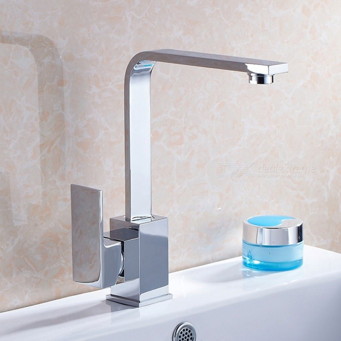 Contemporary Brass 360 Degree Rotatable Ceramic Valve Single Handle One-Hole , Bathroom Sink FaucetBath Faucets<br>ColorSilverSizeNorth AmericaModelF-8008CMaterialBrassQuantity1 setFinishChromeFaucet Spout MaterialBrassFaucet Body MaterialBrassFaucet Handle MaterialZinc AlloyStyleContemporaryPacking List1 x Faucet2 x Stainless steel tubes (60cm)<br>