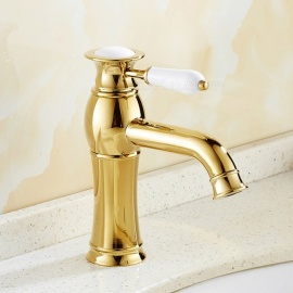 F-9092G Brass Ti-PVD Ceramic Valve One-Hole Single Handle Bathroom Sink Faucet