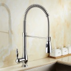 Contemporary brass chrome 360 degree rotatable ceramic valve single handle one-hole kitchen faucet