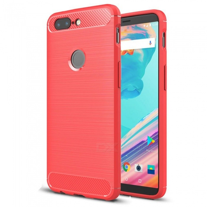 Naxtop Wire Drawing Carbon Fiber Textured TPU Brushed Finish Soft Phone Back Cover Case For OnePlus 5TTPU Cases<br>ColorRedModelN/AMaterialTPUQuantity1 pieceShade Of ColorRedCompatible ModelsOnePlus 5TPacking List1 x Case<br>