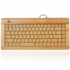 88-Key Compact Slim Wired USB Bamboo Keyboard (150CM-Cable)