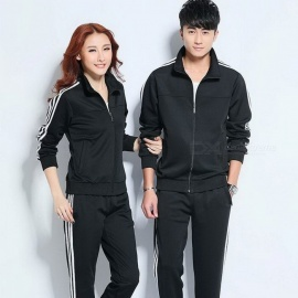 Portable Universal Women Men Running Sport Suit Set, Fitness Zipper Sportwear Running Clothes, Couples Sport Swear Men 2XL/Black