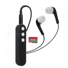 Cwxuan universal clip-on bluetooth v4.2 stereo earphone with microphone, tf slot for cell phones - black