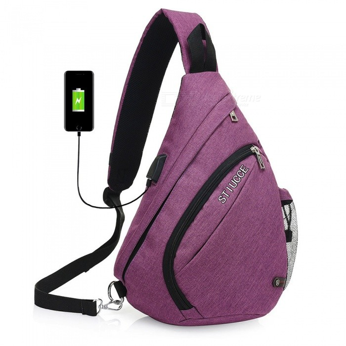 STIUCCE Crossbody Bag Backpack with USB Charging Port, Triangular Sling Chest Rucksack - PurpleColorPurpleModel501-PurpleQuantity1 pieceMaterialNylonTypeCasualSizeOthers,21x12x38cmCapacity5LRaincover includedNoGenderUnisexBest UseTravelPacking List1 x Backpack<br>
