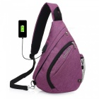 Stiucce crossbody bag backpack with usb charging port, triangular sling chest rucksack - purple