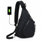 Stiucce crossbody bag backpack with usb charging port, triangular sling chest rucksack - black
