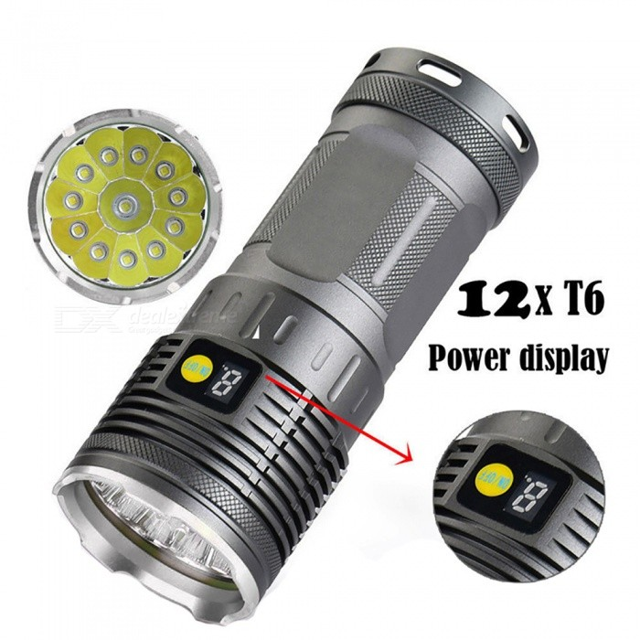AIBBER TONE High Quality 35000LM 12 x XM-L T6 LED Power &amp; Mode Digital Display Hunting FlashlightDiving Flashlights<br>BundlesDiving flashlightQuantity1 setMaterialAluminum AlloyEmitter BrandCreeLED TypeXM-LEmitter BINT6Color BINWhiteNumber of EmittersOthers,12Actual Lumens35000 lumensPower Supply18650Working Voltage   3.7-4.2 VCurrent- ARuntime1-2 hourNumber of Modes3Switch TypeForward clickySwitch LocationSideLens MaterialGlassReflectorAluminum SmoothWorking Depth Underwater100 cmStrap/ClipStrap includedPacking List1 x Diving flashlight1 x Strap<br>