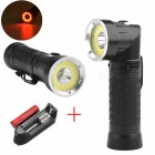 Powerful led flashlight 18650 t6+cob 6000lm 90 degree fold multifunction torch light for hunting camping search lamp