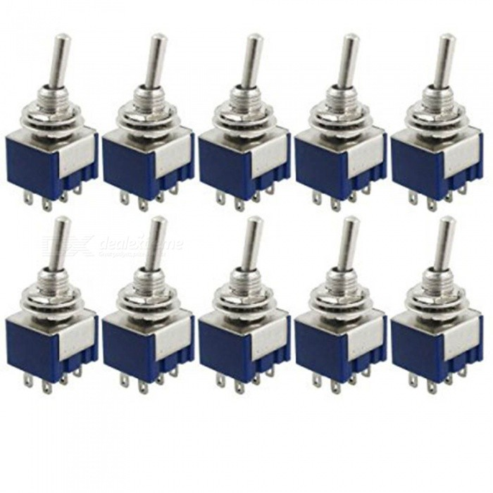 ZHAOYAO 10Pcs AC 125V 6A Amps ON/ON 2-Position DPDT Toggle SwitchesSwitches &amp; Adapters<br>ColorBlueQuantity1 setMaterial: Plastic, MetalPower Range-Max. Current-Working Temperature- ?Other Features-Certification-Packing List10 x Toggle Switches<br>