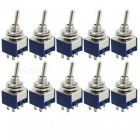 Zhaoyao 10pcs ac 125v 6a amps on/on 2-position dpdt toggle switches