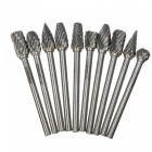 Zhaoyao 10pcs carving grinding heads burrs bit set, tungsten steel solid carbide rotary tool 3x6mm mini drill bits