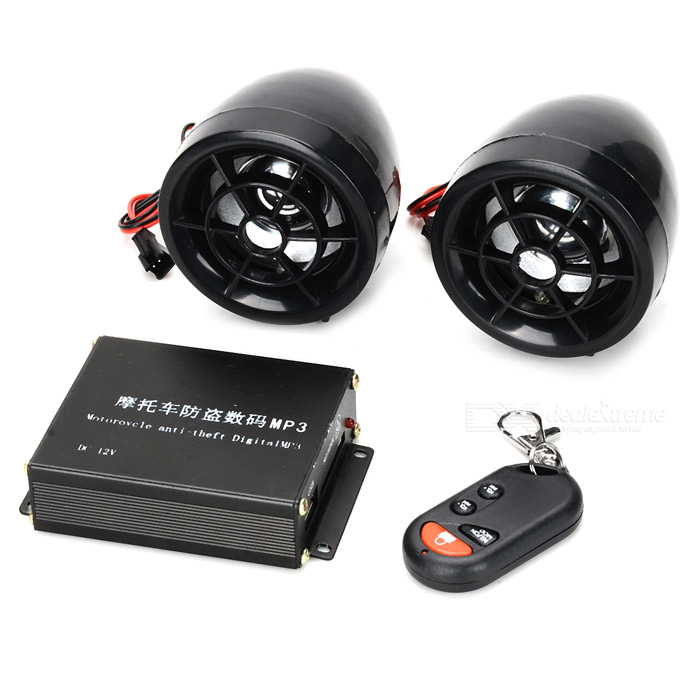 Anti-Theft Security Alarm System with MP3 Speaker & FM Radio for Motorcycle (SD/MMC)