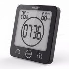 Baldr Digital Timer Clock Alarm Countdown Thermometer Hygrometer, Shower Makeup Cooking Stopwatch / Suction Cup Wall Clock Black